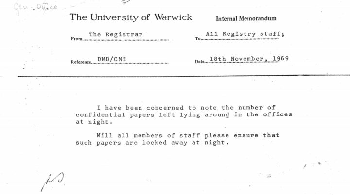 Registrar, Files, 1969